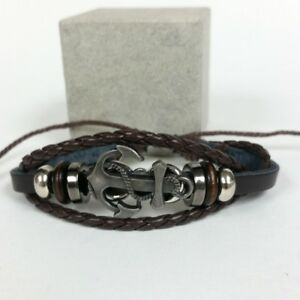 Silver Metal Color Adjustable Synthetic Black amp; Brown Leather Anchor Bracelet