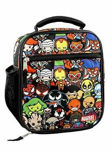 Marvel Kawaii Avengers All Over Anime Soft Insulated Lunch Bag, Black