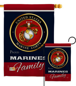US Marine Corps Proudly Family Garden Flag Military Semper Fi USMC House Banner
