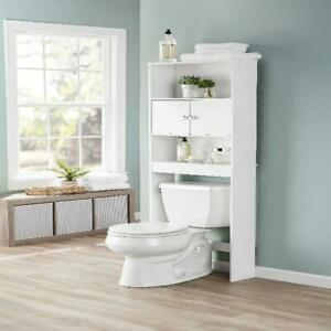 Bathroom Storage Over the Toilet 3 Shelves Cabinet Wood Door Space Saver, White