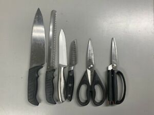 Set of 6 Stainless Steel Kitchen Pieces Various Knives 4 and Two Scissors