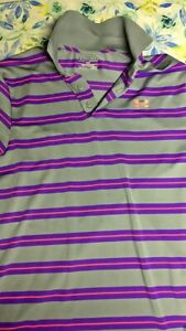 Under Armour Golf Polo Medium Loose Fit Grey with Purple and Pink Stripes $14.00