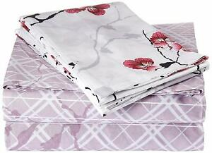 DaDa Bedding 3 PC Floral Blossom Fitted Flat Bed Sheets Set w/ Pillow Case, Twin