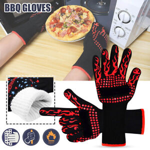 2PCS High Temperature Kitchen BBQ Grill Gloves 500°C Heat Resistant Cooking