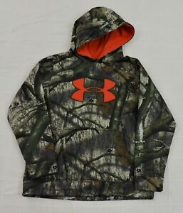 UNDER ARMOUR Boys Sz Large Camo Big Logo Mossy Oak Treestand Fleece Hoodie EXC $16.19