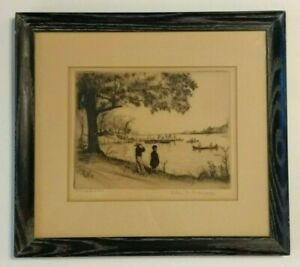 Elias Grossman Pencil Signed & Framed Etching 1941 Glenmere Lake New York