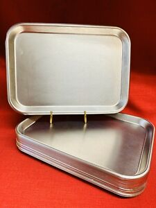 "24-Polar Ware 13F Stainless Steel Surgical Medical Trays-Rolled Bead 13 34""x 10"