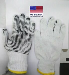 Men's Black Single Dot Work Gloves Industrial Grade  White Cotton
