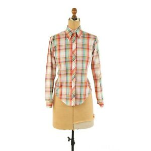 Vintage 70s White Red Country Plaid Lightweight Cotton Retro Button Shirt Top