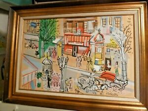 Original Signed Lithograph with Mixed Media Charles Cobelle quot;Paris Scene 2quot; $400.00