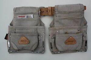 2 10 pocket carpenter nail amp; tool bag w leather belt construction pouch grey