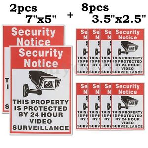 10 Home CCTV Surveillance Security Camera Video Sticker Warning Decal Sign
