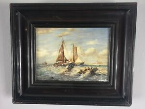 Antique Oil Painting of A Shipping Scene Signed and Framed  $175.92