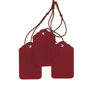 50 Blank Scallop Gift Tags w/ Strings - Red Scarlet Maroon - Strung Hang Price
