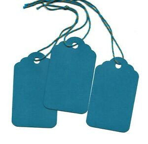 50 Blank Scalloped Gift Tags w/ Strings - Teal Blue - Strung Handmade Hang Price
