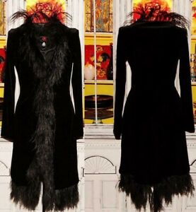 Betsey Johnson VINTAGE Coat VELVET Black OSTRICH FEATHER Long OPERA L 8 10 12