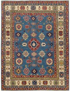 BLUE/IVORY Super Kazak Oriental Hand-Knotted Geometric Area Rug Wool Carpet 5x7