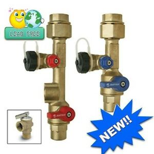New Tankless Water Heater Service Valve Kit 34in Brass Lead Free (Sweat)