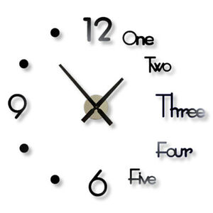 3D Acrylic Large Number Mirror Sticker DIY Wall Clock Home Office Modern Decor S