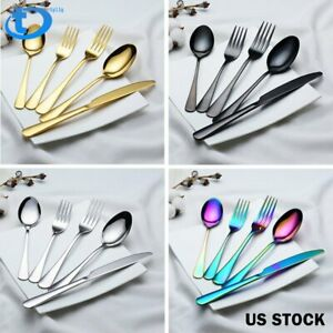 5 20 40 60Pcs Set Stainless Steel Dinnerware Dinner Knife Fork Spoon Flatware US
