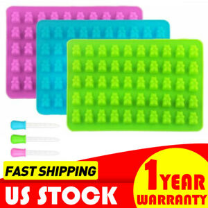 3 Pack 150 Cavity Gummy Bear Candy Molds Silicone Chocolate Ice Maker w/ Dropper