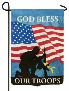 God Bless Our Troops Double Applique Garden Flag High Quality 3-ply construction
