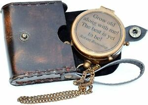 Antique Grow Old with ME Engraved Brass Compass ON Chain w Leather Halloween Gif $29.00