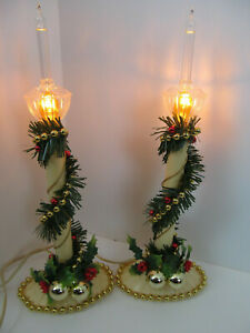 2 Christmas Electric Window Candles Gold Bubble Light Set Plastic Greenery Vtg