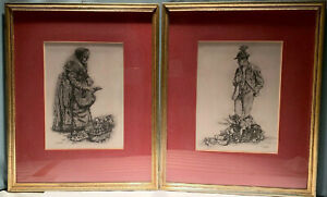 Pair of Framed And Signed Etchings By Paul Geissler ~ Gemusemann