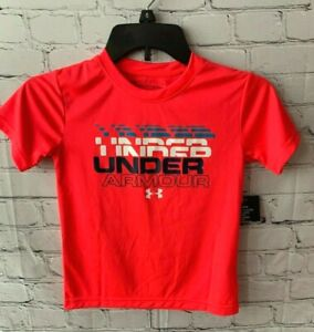 NEW Under Armour Boys Armour Heatgear T Shirt Neon Pink Tee Size 6 Red Rage $12.95