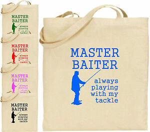 Master Baiter Large Cotton Tote Shopping Bag Present Xmas Cool Fishing Tackle