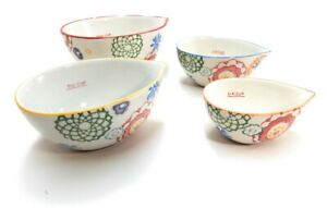 Floral Design 4 Piece Measuring cup set Hand Painted Stoneware Pier I Imports $25.00