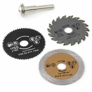 3pcs 54.8mm HSS Mini Circular Saw Blade Cutting Disk Kit Rotary Tool with Mandre