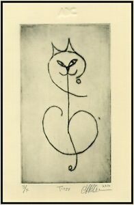 WHIMSICAL SMILING CAT Original Signed ETCHING Limited-Edition Art Print $45.00