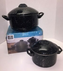New Gibson Casselman 4 Pc Pasta Cooker Pot Set in Black NIB/Box NON STICK STEEL