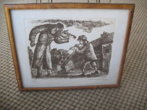 Vintage Chaim Goldberg Etching  Signed Artist Proof Violin Flute Jewish Polish
