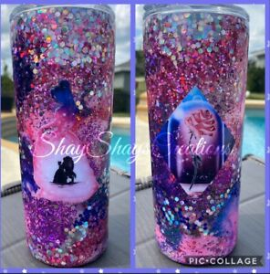 Personalized Galaxy Glitter Beauty Beast Belle Tumbler