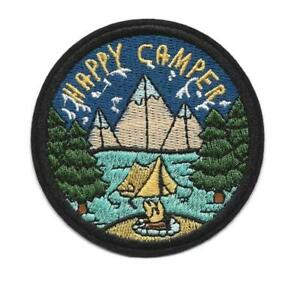 HAPPY CAMPER IRON ON PATCH 3quot; Outdoor Adventure Camping Embroidered Applique