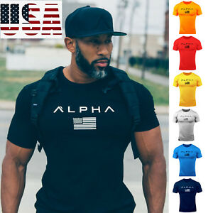 ALPHA Gym Men Muscle Fitness Cotton Fit Tee Workout T Shirt Athletic Clothes $12.99