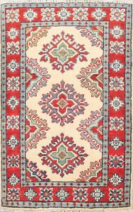 Geometric IVORY Super Kazak Oriental Area Rug Wool Hand-Knotted Foyer Carpet 2x3