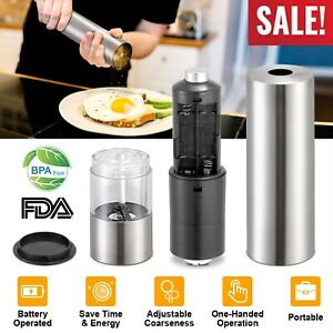 Automatic Grinder Salt and Pepper Mill Shaker Adjustable Stainless Steel USA