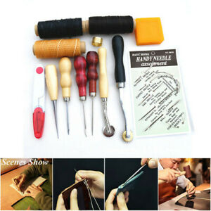 13PCS Leather Sewing Punch Tool Kit Set DIY Hand Craft Carving Working Stitching $12.96