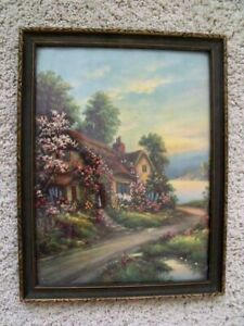 Framed Anique Chromolithograph Cottage Covered in Climbing Roses