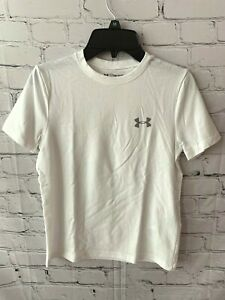 NEW Under Armour Boys Armour Heatgear T Shirt White Tee Size Small 1332648 $12.95