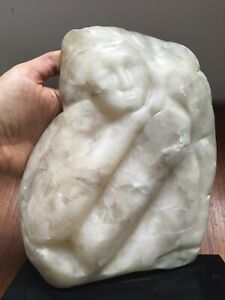 Large Vintage Modern Abstract Stone Carved Female Sculpture On Stand