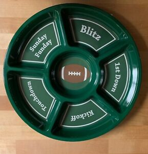 Football Tailgate Serving Platter Chip amp; Dip Veggie Tray Dish Party Man Cave New