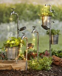 Solar Garden Stakes Water Faucet Fairy Light Yard Lawn Art Outdoor Home Decor