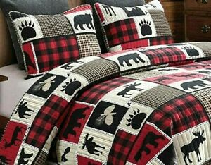 Queen Lodge Life 3pc Quilt Set Black Bear Paw Moose Deer Eagle Red Buffalo Check