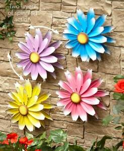 Metal Garden Spinner Wall Fence Flower Windmill Outdoor Home Decor in 4 Colors $14.94