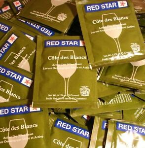 WINE YEAST 10 PACKS RED STAR COTE DES BLANCS FOR WHITES FRUITS and CIDERS Côte